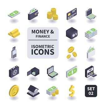 Conjunto simples de dinheiro e ícones de finanças.