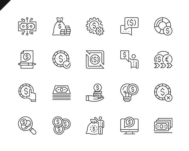 Conjunto simples de dinheiro relacionados vetor linha de ícones.