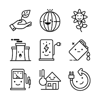 Conjunto simples de eco relacionados vetor linha de ícones.