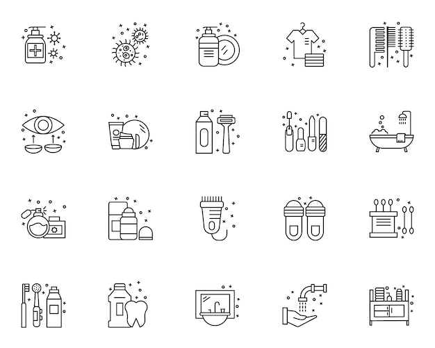 Conjunto simples de elementos de higiene relacionados com ícones no estilo de linha