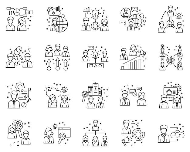 Conjunto simples de elementos de negócios relacionados aos ícones de linha do vetor