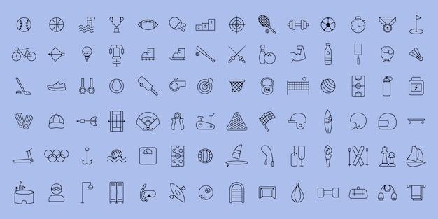 Conjunto simples de esportes de linha fina de vetor e ícones de aptidão