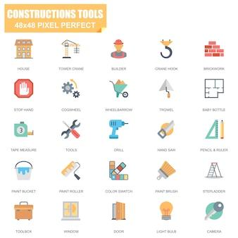 Conjunto simples de ferramentas de construção relacionados com ícones plana de vetor