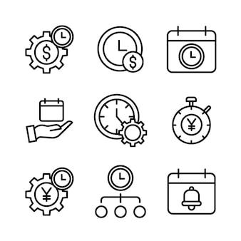 Conjunto simples de gerenciamento de tempo relacionados à linha vetor ícones.
