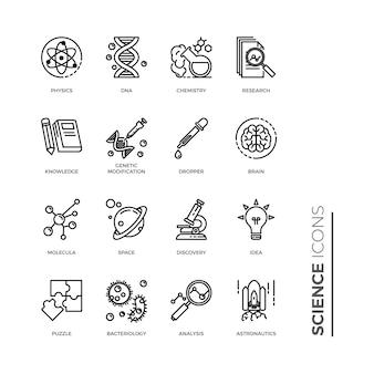 Conjunto simples de ícone de ciência, ícones relacionados com a linha do vetor