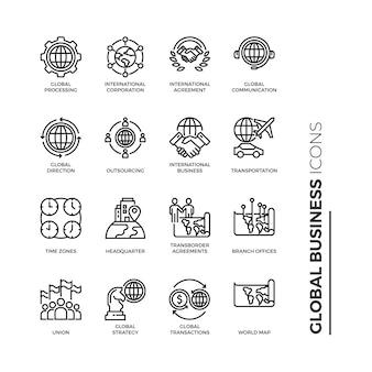 Conjunto simples de ícone de negócios globais, ícones de linha relacionada de vetor