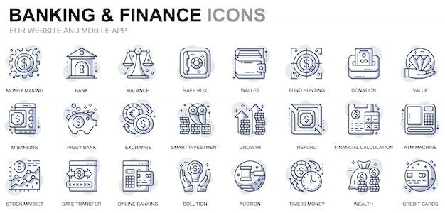 Conjunto simples de ícones bancários e financeiros de linha para o site e aplicativos móveis