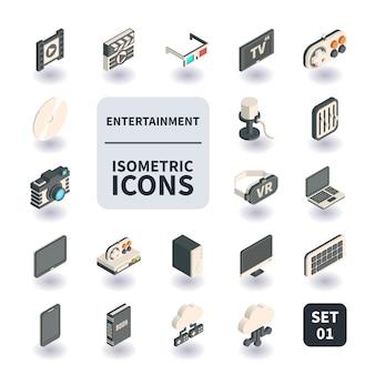 Conjunto simples de ícones de entretenimento.