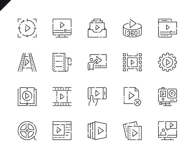 Conjunto simples de ícones de linha de conteúdo de vídeo