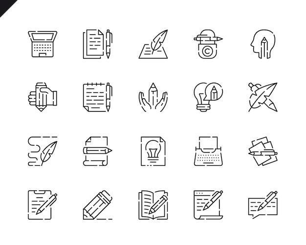 Conjunto simples de ícones de linha de redação