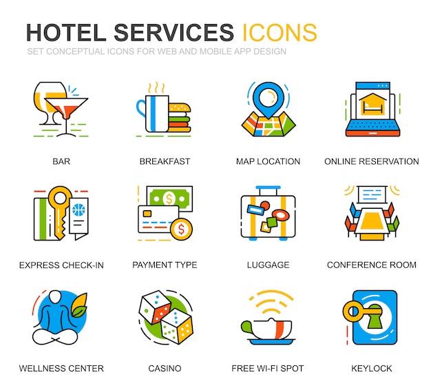 Conjunto simples de ícones de linha de serviço de hotel para o site