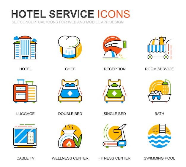 Conjunto simples de ícones de linha de serviços de hotel para o site