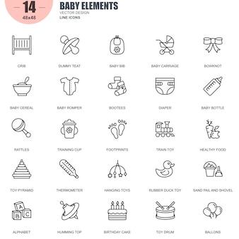 Conjunto simples de ícones de linha de vetor relacionados de elementos de bebê