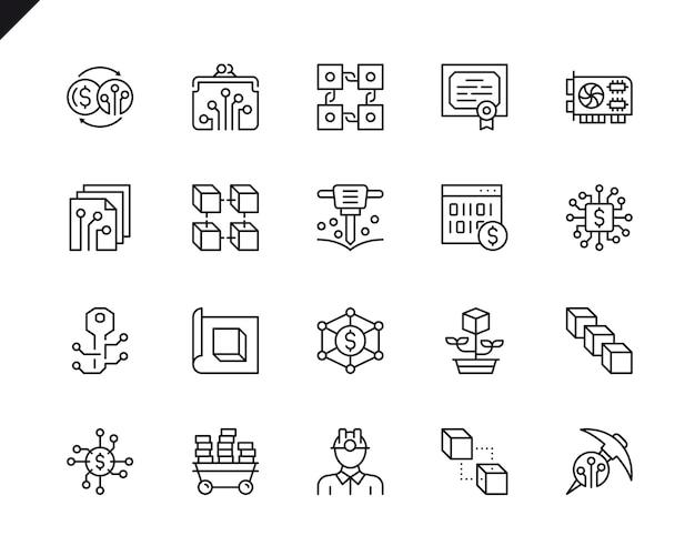 Conjunto simples de ícones de linha do vetor criptomoeda relacionados.