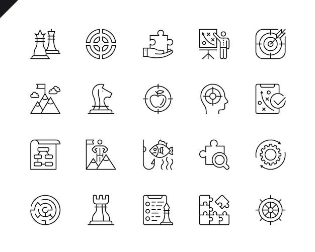 Conjunto simples de ícones de linha do vetor de estratégia de negócios relacionados.