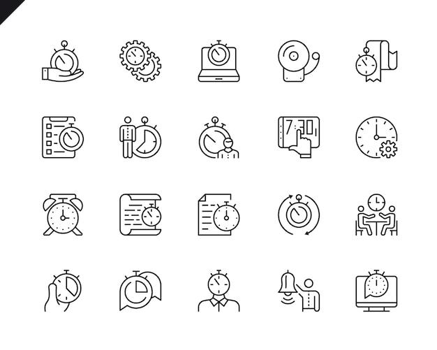 Conjunto simples de ícones de linha do vetor de gerenciamento de tempo relacionados.