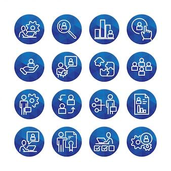 Conjunto simples de ícones de linha do vetor de gestão de negócios relacionados