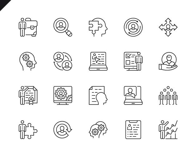 Conjunto simples de ícones de linha do vetor de gestão de negócios relacionados.