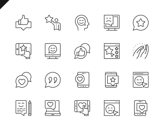 Conjunto simples de ícones de linha do vetor relacionados de feedback.