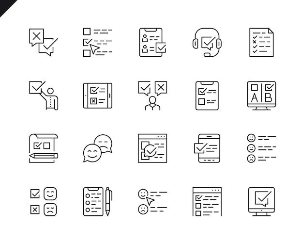 Conjunto simples de ícones de linha do vetor relacionados survey.