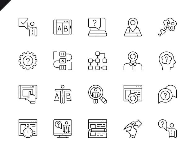 Conjunto simples de ícones de linha do vetor relacionados ux.