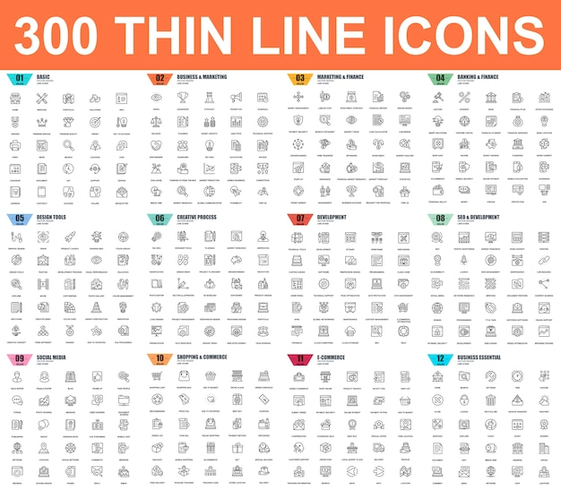 Conjunto simples de ícones de linha fina de vetor. 48x48 pixel perfeito. pacote de pictograma linear.
