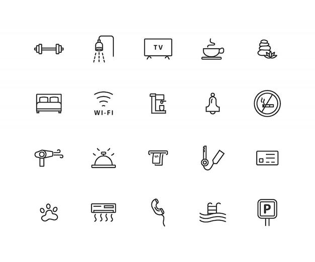 Conjunto simples de ícones de linha relacionada de hotel