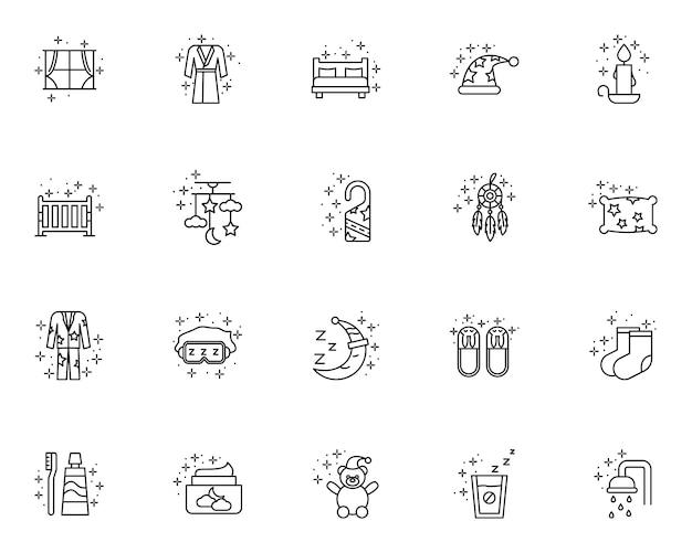 Conjunto simples de ícones de linha relacionados ao sono