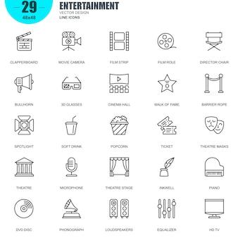 Conjunto simples de ícones de linha vetor relacionados entretenimento