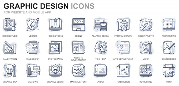 Conjunto simples de ícones de linha web e design gráfico para o site e aplicativos móveis