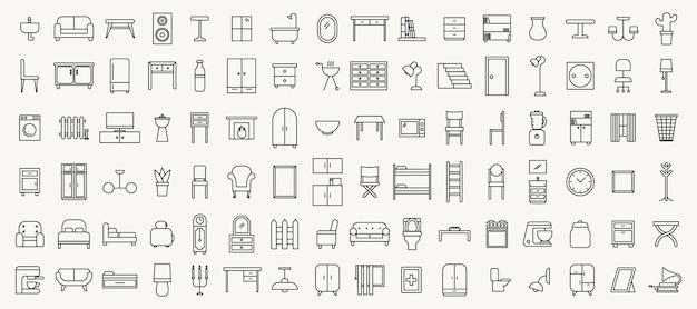 Conjunto simples de ícones de móveis de linha fina
