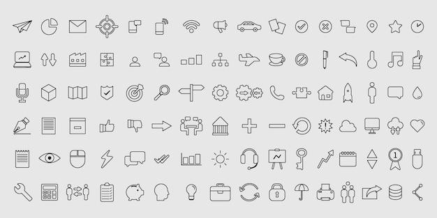 Conjunto simples de ícones de negócios de linha fina de vetor