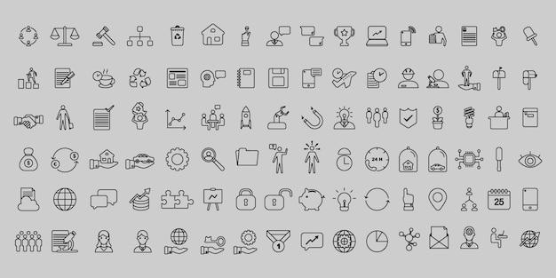 Conjunto simples de ícones de negócios e escritório de linha fina de vetor