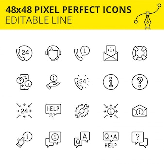 Conjunto simples de ícones para suporte técnico e assistência 24/7. obtenha a resposta a qualquer momento ou consulte o especialista do nosso callcenter. contém ícones como fone, ajuda, operador, fone de ouvido.