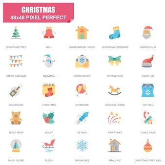 Conjunto simples de ícones plana de vetor relacionados de natal