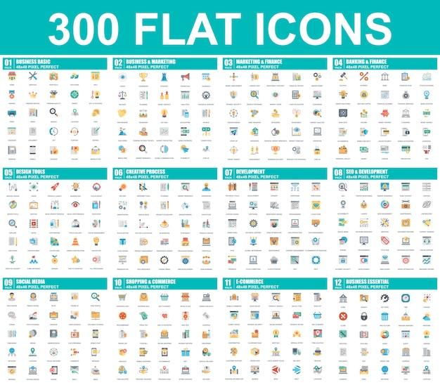 Conjunto simples de ícones plana de vetor