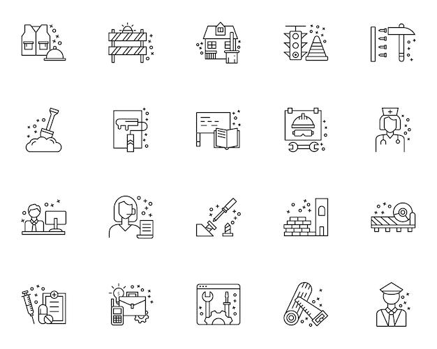 Conjunto simples de ícones relacionados ao dia do trabalho no estilo de linha