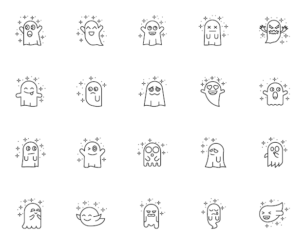 Conjunto simples de ícones relacionados ao fantasma no estilo de linha