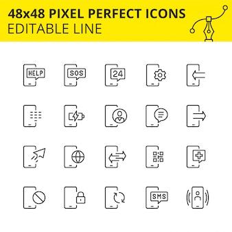 Conjunto simples de ícones relacionados aos serviços telefônicos. coleção de símbolos de estrutura de tópicos de tecnologia móvel. contém ícones como celular, suporte, carregamento, sms etc. pixel perfeito. linha. .