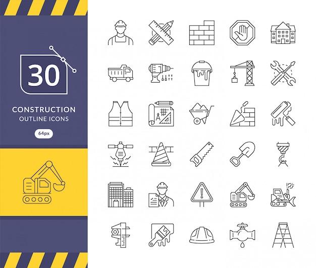 Conjunto simples de ícones relacionados com a construção