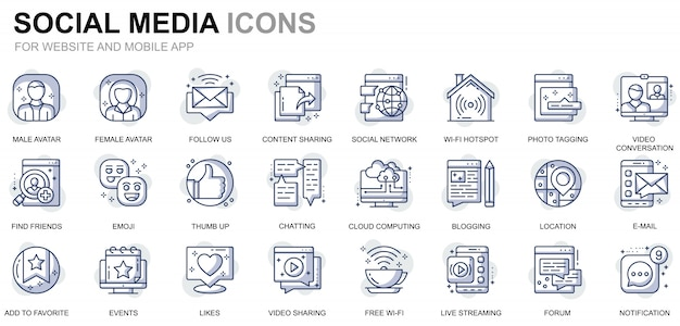 Conjunto simples de mídia social e ícones de linha de rede para o site e aplicativos móveis
