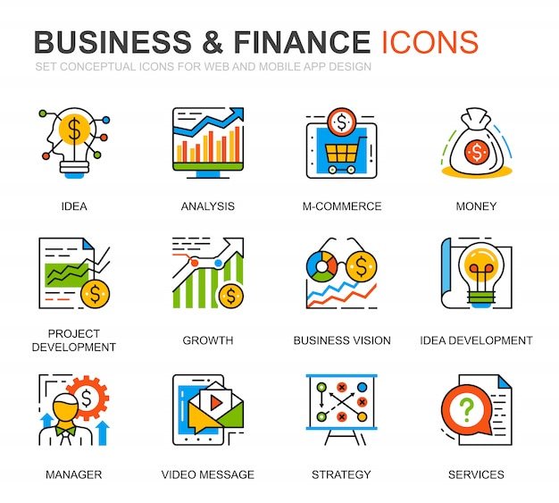 Conjunto simples de negócios e finanças ícones de linha para o site