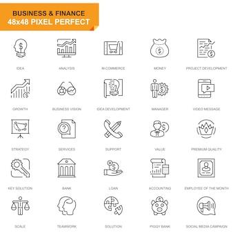 Conjunto simples de negócios e finanças ícones de linha