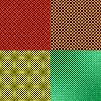 Conjunto simples de padrões de padrões de pontos sem costura simples - gráficos de círculos coloridos