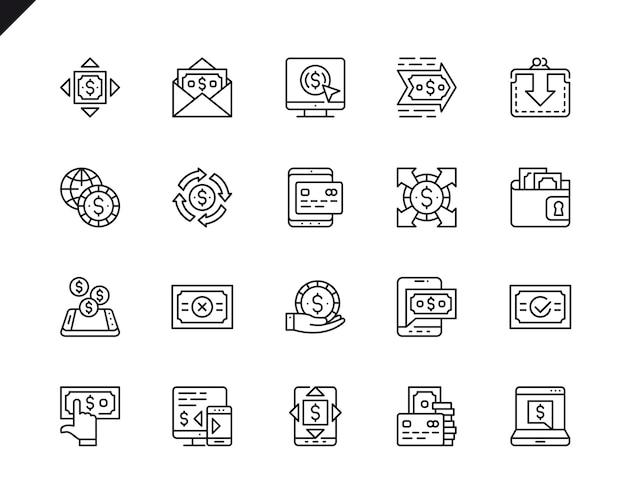 Conjunto simples de pagamento relacionados vetor linha de ícones.