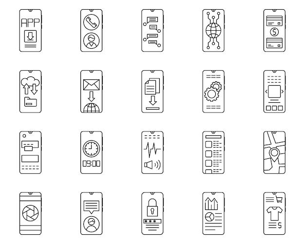 Conjunto simples de smartphone relacionados com ícones de linha do vetor