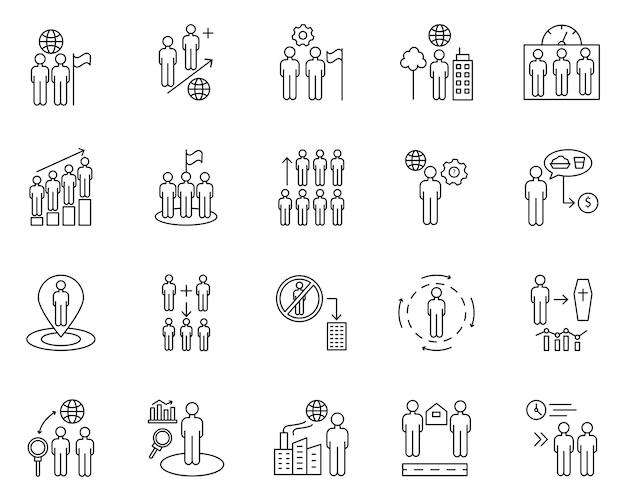 Conjunto simples de superpopulação relacionados com ícones de linha do vetor