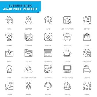 Conjunto simples ícones de linha básica