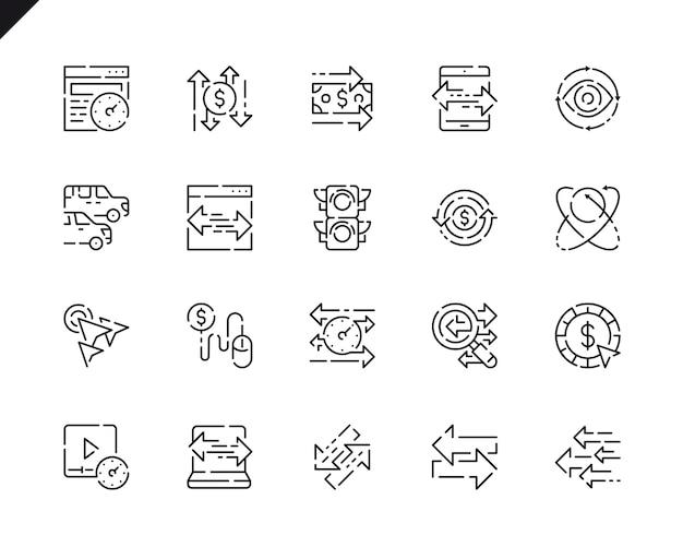 Conjunto simples ícones de linha de tráfego para o site e aplicativos móveis.