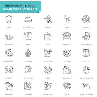 Conjunto simples restaurante e comida linha ícones